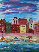 Urbam Prints - City with a Pink Boardwalk Print by Mary Carol Williams