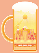 Food And Beverage Digital Art Prints - City Within Beer Stein Print by Takuya Kuriyama