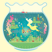 City Life Digital Art Prints - City Within Fish Bowl Print by Takuya Kuriyama