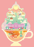 Ice Cream Illustration Posters - City Within Ice-cream Poster by Takuya Kuriyama