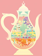 Teapot Digital Art Framed Prints - City Within Teapot Framed Print by Takuya Kuriyama