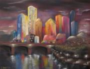 Skylines Pastels Metal Prints - Citylights Metal Print by Sabina Haas