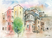 City Streets Painting Framed Prints - Cityscape Framed Print by Arline Wagner