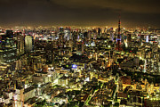Aerial View Photos - Cityscape At Night by Agustin Rafael C. Reyes