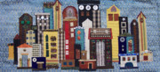 Quilt Collage Tapestries - Textiles Metal Prints - Cityscape--Blue Metal Print by Sue Gilliam
