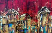 Reflections Mixed Media Originals - Cityscape Diptych by Suzanne Kfoury