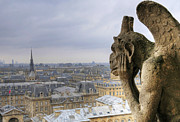 Gargoyle Posters - Cityscape From Notre Dame, Paris Poster by Zens photo