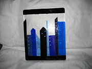 City Scenes Glass Art - CityScape in Blue by Sandy Feder