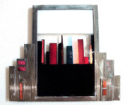 Metal Glass Art - CityScape in Red by Sandy Feder