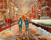 Montreal Neighborhoods Paintings - Cityscape In Winter by Carole Spandau