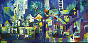 City Scape Paintings - CityScape by John Vetha