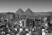 Black And White Photography Metal Prints - Cityscape Of Cairo, Pyramids, Egypt Metal Print by Anik Messier