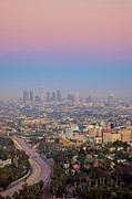 Tail Light Prints - Cityscape Of Los Angeles Print by Eric Lo