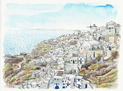 Building Exterior Digital Art - Cityscape Of Santorini, Greece, Illustration by Multi-bits