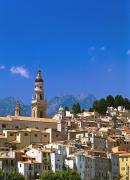 Menton Prints - Cityscape With Church Bell Tower Print by Axiom Photographic