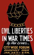 Patriotic Mixed Media Metal Prints - Civil Liberties In War Times Metal Print by War Is Hell Store