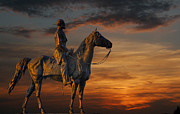 Confederate Monument Prints - Civil War Battlefield Sunset Print by Randy Steele