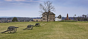 Civil War Cannons And Henry House At Manassas Battlefield Park - Virginia Print by Brendan Reals