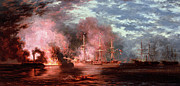 Historic Ship Painting Prints - Civil War Engagement Print by Xanthus Russell Smith