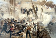 Civil Painting Framed Prints - Civil War Naval Battle Framed Print by War Is Hell Store