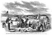 32nd Prints - Civil War: Pontoon Bridge Print by Granger