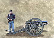 Artillery Metal Prints - Civil War Union Artillery Corporal with Cannon Metal Print by Randy Steele