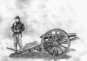 Napoleon Digital Art - Civil War Union Artillery Corporal with Cannon Sketch by Randy Steele