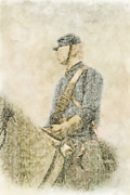 Cemetery Ridge Posters - Civil War Union Cavalry Trooper Poster by Randy Steele