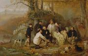 New York State Painting Metal Prints - Claiming the Shot - After the Hunt in the Adirondacks Metal Print by John George Brown