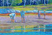 People Pastels Framed Prints - Clam Diggers Framed Print by Rae  Smith  PSC