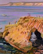 Rock Pastels Posters - Clam Rock Evening Poster by Donald Maier
