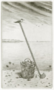 Drypoint Mixed Media - Clamming by Charles Harden