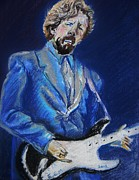 Guitar Player Pastels Posters - Clapton Jams Blue Poster by Emily Michaud