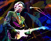 Guitar God Prints - Clapton Live Print by David Lloyd Glover