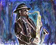 E Street Band Painting Metal Prints - Clarence Clemons Metal Print by Clara Sue Beym
