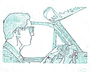 Windshield Drawings - Clarence Driving Blue by Sheri Parris