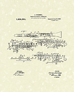 Wind Drawings - Clarinet 1917 Patent Art by Prior Art Design