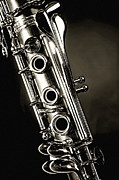 Black And White Prints Prints - Clarinet Isolated in Black and White Print by M K  Miller