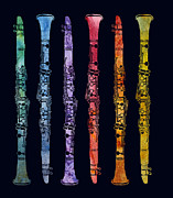 Instruments Digital Art - Clarinet Rainbow by Jenny Armitage