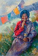 Tibet Painting Framed Prints - Clarity Framed Print by Ellen Dreibelbis