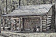 Log Cabin Art Posters - Clark Cabin Poster by Betty Northcutt
