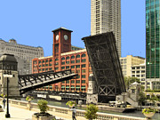 Draw Prints - Clark Street Bridge Chicago - A contrast in time Print by Christine Till