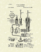 Hand Tools Framed Prints - Clarkson Bit Brace 1883 Patent Art  Framed Print by Prior Art Design