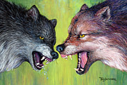 Wolf Pastels Framed Prints - Clash of the Alphas Framed Print by Tanja Ware