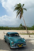 American Culture Posters - Classic American car parked at Ancon Beach Poster by Sami Sarkis