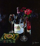 Italian Wine Painting Originals - Classic Barolo with Poetic Works by James Scrivano