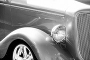 Monochrome Hot Rod Framed Prints - Classic Black and White Car Front End Framed Print by M K  Miller