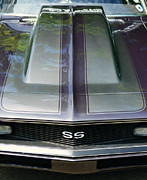 Vintage Auto Prints - Classic Camaro SS Hood Cowl Print by Paul Ward