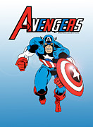 Avengers Prints - Classic Captain America Print by Mista Perez Cartoon Art