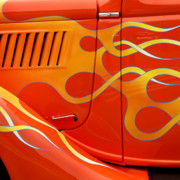 Orange Car Art - Classic Car 3 by Art Block Collections